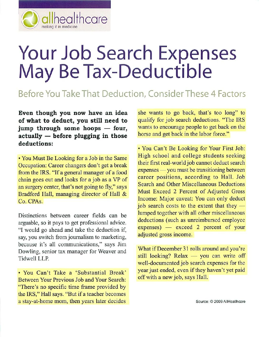 Job Search Expenses may be Tax Deductible – Hall & Company